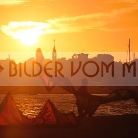 Bilder Sonnenuntergang am Meer, Kitesurfen | Kitesufen Bilder Mar Menor, Spanien