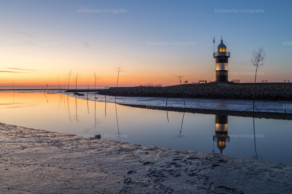 Kleiner Preuße | Sonnenuntergang am Leuchtturm Kleiner Preuße in Wremen