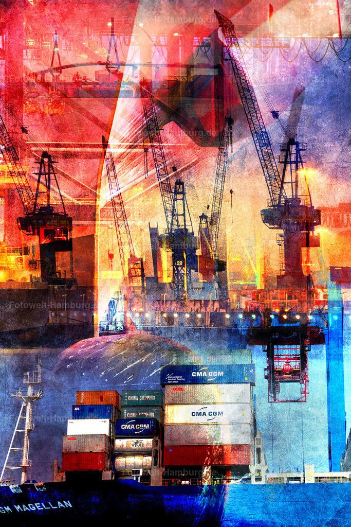 10200311 - Port of Hamburg | Hamburg Collage mit vielen Sehenswürdigkeiten aus dem Hamburger Hafen.