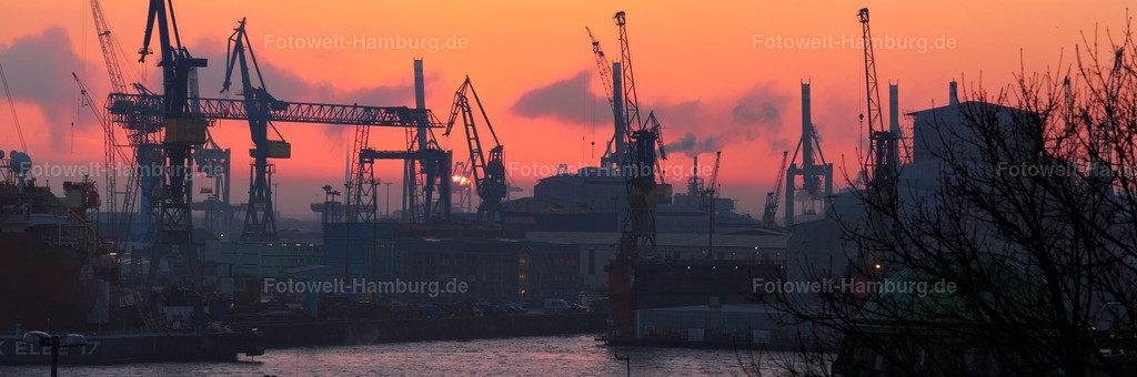 11403429 - Abendrot im Hamburger Hafen