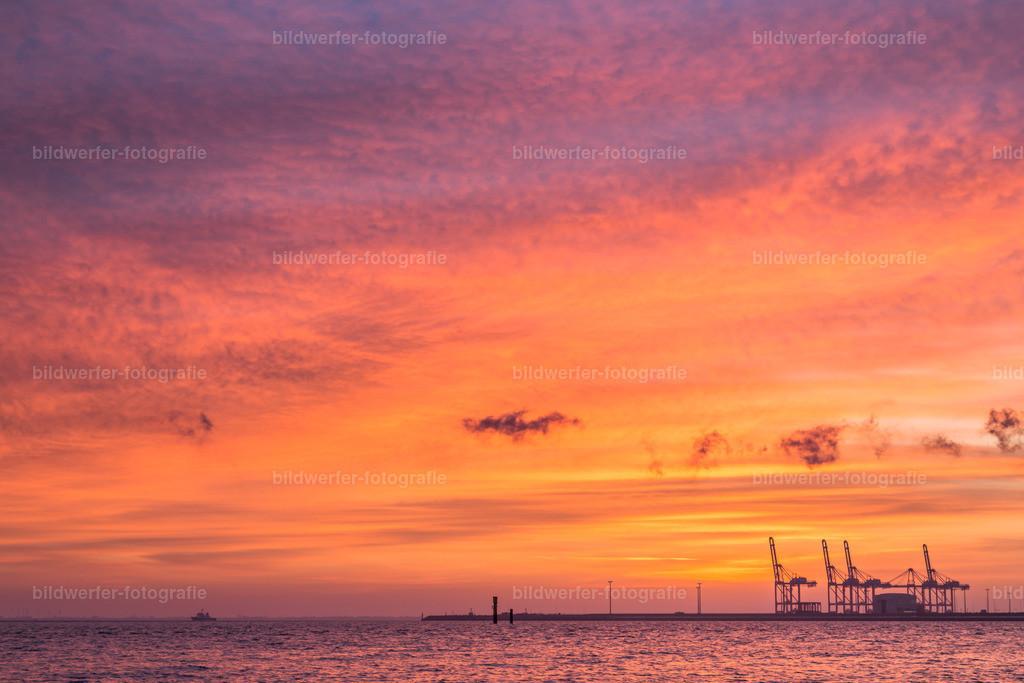 Sonnenaufgang Jade-Weser_port   Sonnenaufgang am Jadebusen mit Blick auf die Containerbrücken des Jade-Weser-Ports in Wilhelmshaven