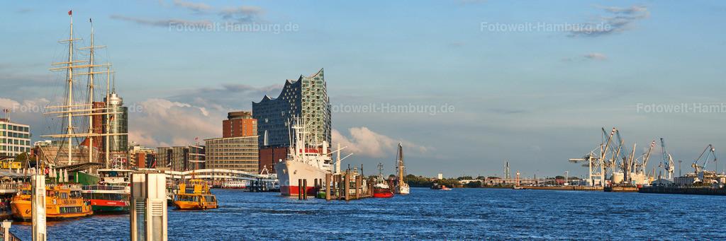 12006890 - Panorama an den Landungsbrücken | Blick von den Landungsbrücken auf die Elbphilharmonie, die Elbe und den Hamburger Hafen