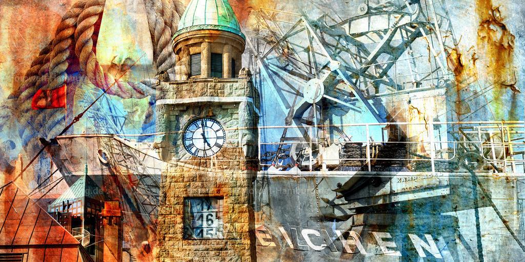 10190911 - Hamburg Collage 023 | Modernes Hamburg Wandbild im Pop-Art Stil.