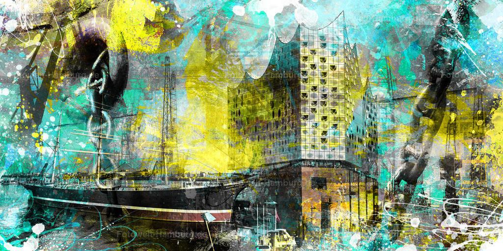 10190913 - Hamburg Collage 024   Modernes Hamburg Wandbild im Pop-Art Stil mit digitalen Pinseleffekten.