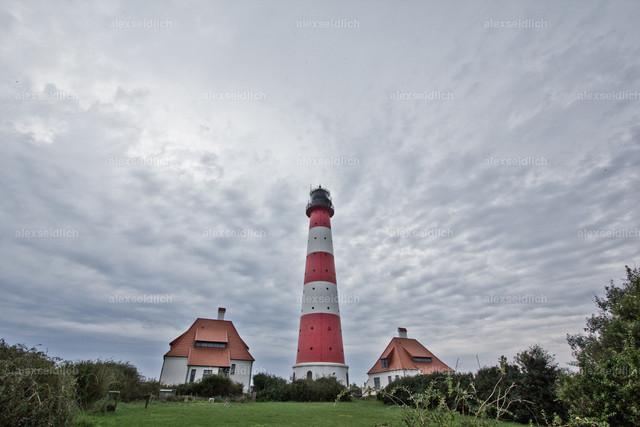 Westerhever Leuchtturm Wattenmeer Nordsee Rückansicht