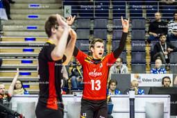 2016_119_OlympiaQualiSerbien-Belgien | Jubel DEROEY Dennis (#13 Belgien) und VAN WALLE Gert (#12 Belgien)