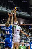 2016_018_Spiel1OlympiaQualiBulgarien-Finnland | Zuspiel BRATOEV Georgi (#1 Bulgarien) gegen Blocker SHUMOV Konstantin (#14 Finnland)