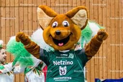 2016_007_BLM_Netzhoppers-Friedrichshafen | Maskottchen Netzino bei der Teamvorstellung