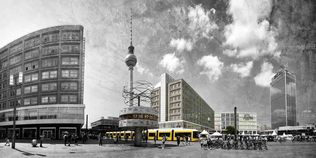 10190419 - Berlin Alexanderplatz | Modernes Wandbild mit digitaler Nachbearbeitung. Das Bild kann auch komplett in schwarzweiss bestellt werden. Einfach den Schwarzweiss-Filter im nächsten Schritt auswählen.