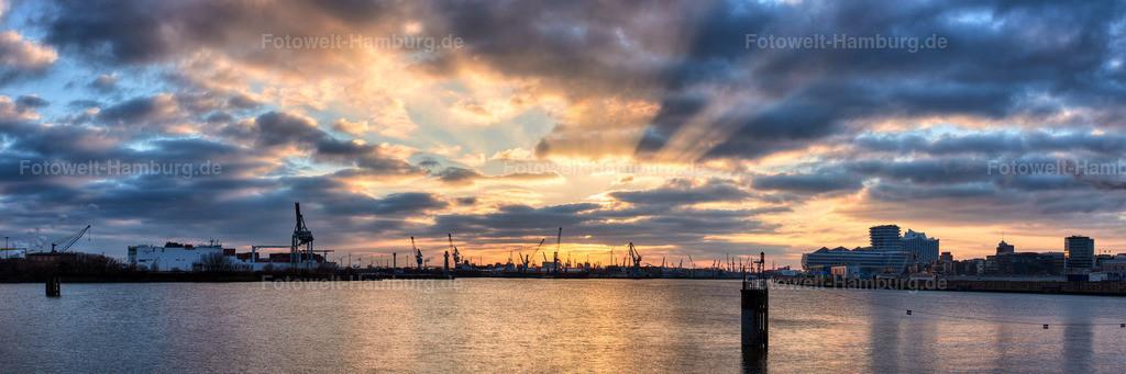 11715846 - Sonnenuntergang hinter dem Hamburger Hafen