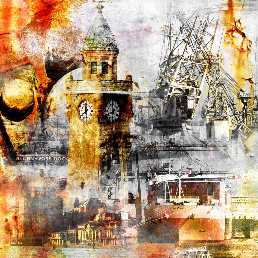 10200310 - Hamburg Collage 033 | Diese Fotocollage steht ganz im Zeichen von Hamburgs maritimer Hafenatmosphäre.
