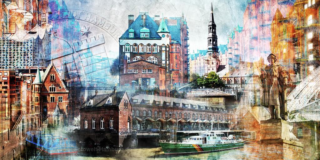 10190411 - Speicherstadt Collage II | Modernes Pop-Art Wandbild mit Motiven aus der Hamburger Speicherstadt