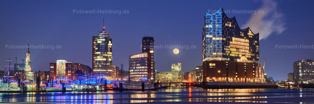 11980855 - Elbphilharmonie Panorama mit Vollmond | Mondaufgang hinter der Skyline der Hafencity
