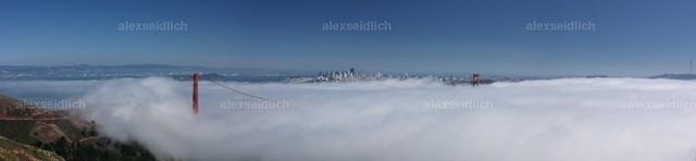 Golden Gate Bridge in Fog Panorama
