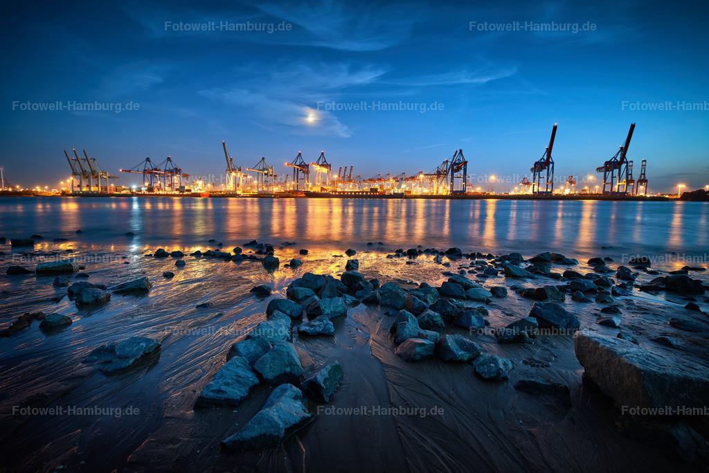 12009775 - Hafenlichter   Nächtliche Stimmung am Elbstrand in Övelgönne