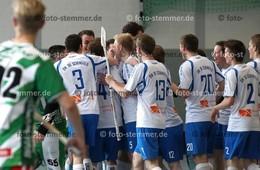 Foto: Michael Stemmer | © Michael Stemmer Floorball, Aufstiegsspiel zur 1. Bundesliga Datum: 22.4.2017 Blau-Weiß 96 Schenefeld– SC DHfK Leipzig Jubel nach dem 6:3  (BW 96)