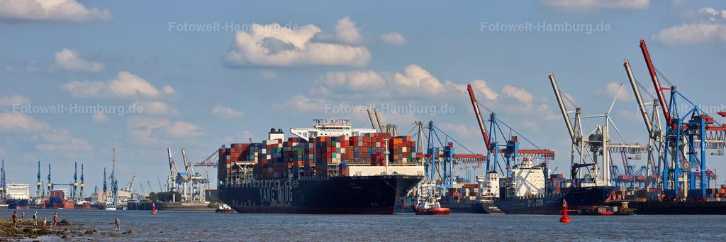 11937591 - Containerschiff YM Worth | Containerschiff beim Verlassen des Hamburger Hafens