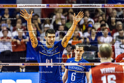 2016_172_OlympiaQuali_Finale_Frankreich-Russland | Sichtblock LE GOFF Nicolas (#14 Frankreich) und TONIUTTI Benjamin (c) (#6 Frankreich)