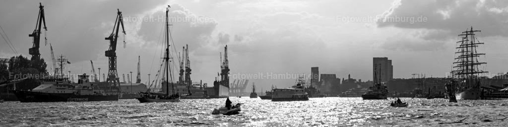 11717932 - Hamburger Hafen Panorama in schwarzweiss