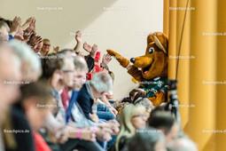 2016_021_BLM_Netzhoppers-Rottenburg | Maskottchen Netzino bei den Zuschauern
