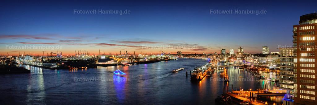 11906796 - Hamburger Hafen bei Nacht | Blick von der Elbphilharmonie auf den Hamburger Hafen