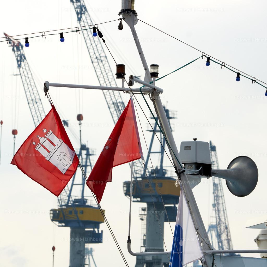 11928460 - Schiffsdetail und Hamburger Hafen