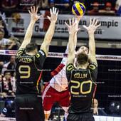 2016_059_OlympiaQualiSuP3_Deutschland-Polen | Angriff Polen gegen Block GROZER György Gyoergy (#9 Deutschland) und COLLIN Philipp (#20 Deutschland)