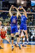 2016_030_OlympiaQualiRussland-Frankreich   Zuspiel von GRANKIN Sergey (#5 Russland) zu VOLKOV Alexander (#18 Russland)
