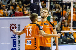 2016_036_CLM_BRVolleys-Belgorod | Jubel bei Paul Carroll (BRVolleys #12 li) und Ruben Schott (BRVolleys #13 re)