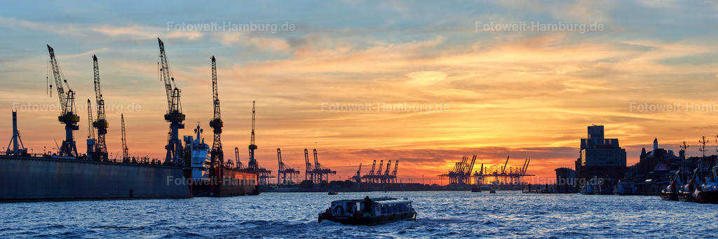 12014836 - Sonnenuntergang an den Landungsbrücken | Blick entlang der Elbe bei Sonnenuntergang