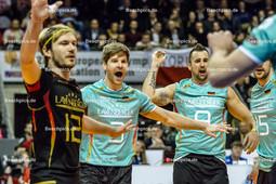 2016_038_OlympiaQualiDeutschland-Polen | Jubel bei TILLE Ferdinand (#12 Deutschland), SCHWARZ Sebastian (#3 Deutschland), GROZER György Gyoergy (#9 Deutschland)
