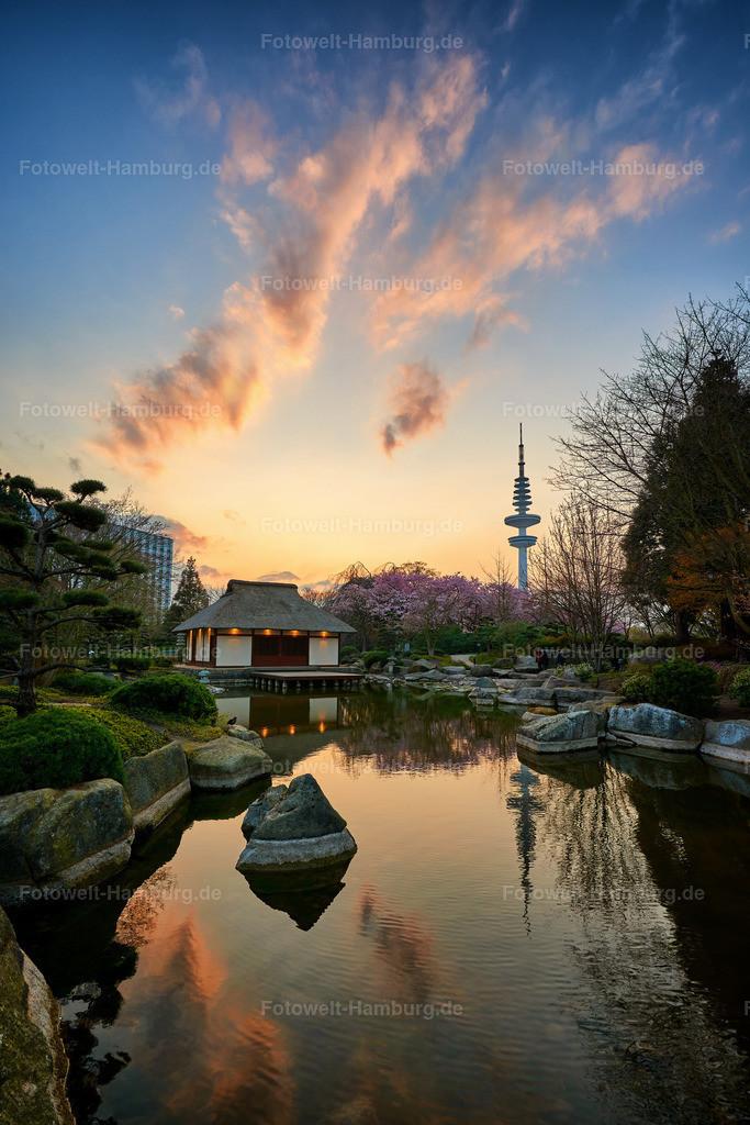 10191017 - Abendrot im japanischen Garten | Der Japanische Garten in Planten un Blomen bei wunderschönem Abendlicht.