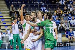 2016_042_Spiel1OlympiaQualiBulgarien-Finnland | Jubel bei Bulgarien: YOSIFOV Viktor (#12 Bulgarien li) mit NIKOLOV Nikolay (#18 Bulgarien mi) und SALPAROV Teodor (#13 Bulgarien)