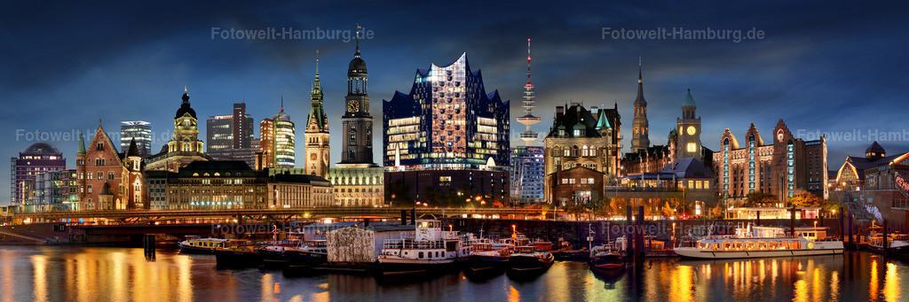 10191001 - Hamburg City Lights Panorama | Entdecken Sie Hamburgs Skyline bei Nacht mit unserer kreativen Hamburg Collage.
