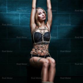 Hände hochgebunden, Seil Harness - Fine Art of Bondage | Hochgebundene Hände und Seil Harness bei einem Model in Dessous - Fine Art of Bondage