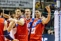 2016_046_OlympiaQualiDeutschland-Serbien | Jubel bei den Serben: PODRASCANIN Marko (#18 Serbien re) und BROJOVIC Aleksa (#16 Serbien 2vr)