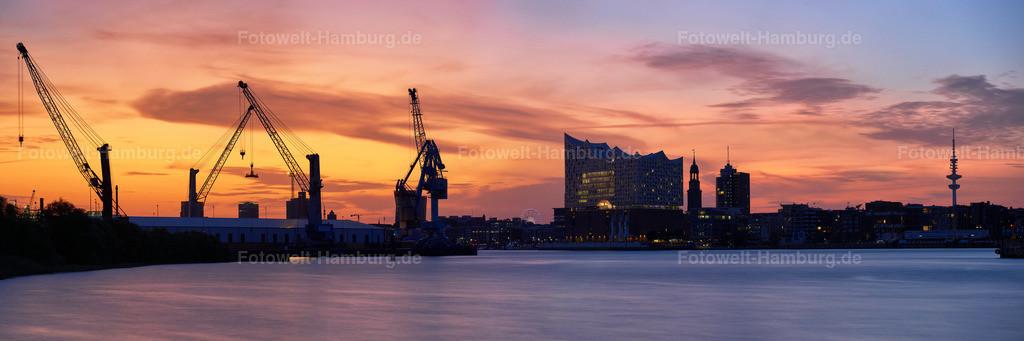 10190711 - Hamburg Sunset Panorama | Spektakulärer Panoramablick auf die Hamburger Skyline und den Hafen bei Sonnenuntergang