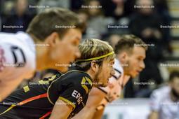 2016_003_OlympiaQualiDeutschland-Serbien | die deutschen Spieler in der Annahme: FROMM Christian (#1 Deutschland li), TILLE Ferdinand (#12 Deutschland mi) und KALIBERDA Denys (#6 Deutschland)